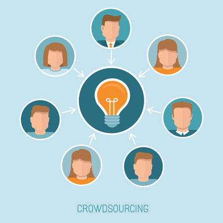 community service: Vector crowdsourcing concept in flat style - abstract group of people participating in generating new ideas and solutions