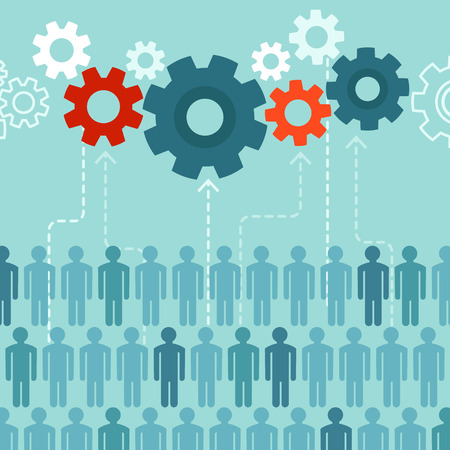 recursos humanos: Concepto de crowdsourcing vectorial en estilo plano - grupo abstracto de personas que participan en la generación de contenidos Vectores