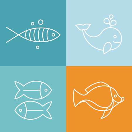 Vector line fish logos and signs - abstract design elements Vector