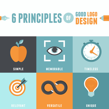 principles: Vector infographics in flat style - 6 principles of good logo design