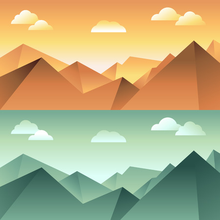 Vector mountain landscape in different light and color - illustration in flat style for horizontal banners background Vector