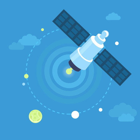 wireless transmission: Vector satellite concept in flat style in blue sky - communication and broadcasting