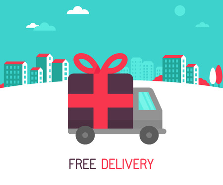 Vector free delivery concept in flat style - illustration for banner for website - transportation truck with a gift