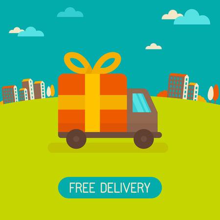free sign: Vector free delivery concept in flat style - illustration for banner for website - transportation truck with a gift