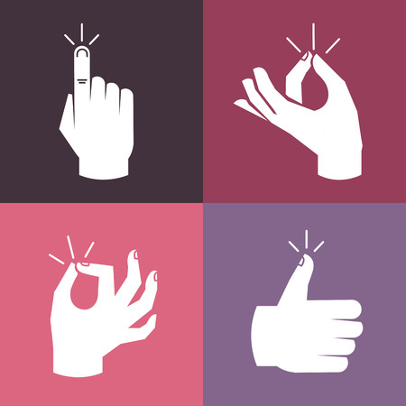 snapping fingers: Vector set of hands and gestures in flat style- magic snap, okay sign