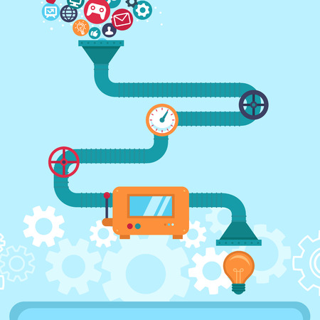 pipelines: Vector abstract infographics in flat style -creative idea generatir Illustration