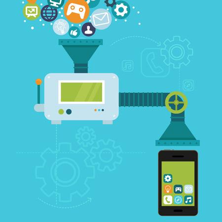 palanca: Infograf�a vector en estilo plano - el desarrollo de aplicaciones para el tel�fono m�vil - la programaci�n y aplicaci�n crear
