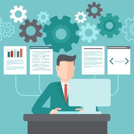 Wektor programista pracuje nad kodem i przetwarzanie danych w stylu płaskiej