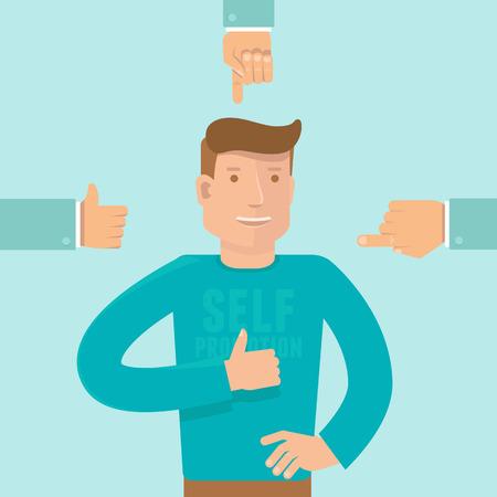 Vecteur notion d'auto-promotion dans le style plat - homme montrant comme signe et d'affaires les mains montrant du doigt