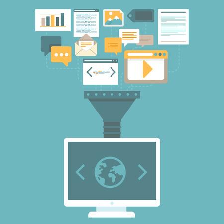 uploading: Concept Vector Digital Marketing in stile piatto - caricamento e la pubblicazione di articoli e informazioni