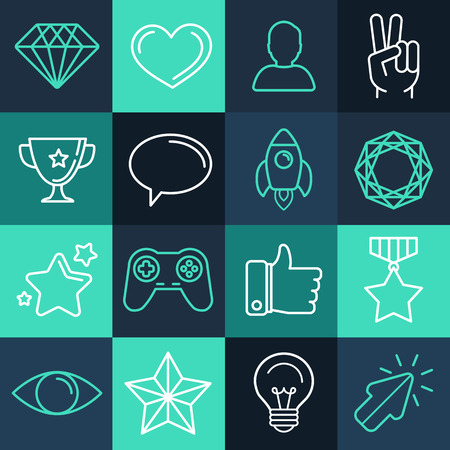 Vector set of line game icons and design elements for apps and programs Vector