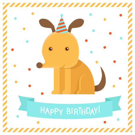 Vector greeting card in flat style with funny dog - happy birthday Vector