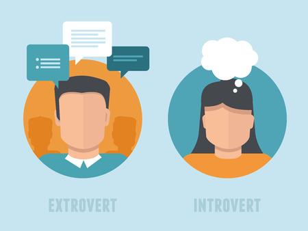 interactions: Vector extraversie-introversie infographics in vlakke stijl - man en vrouw met verschillende persoonlijkheidstypen