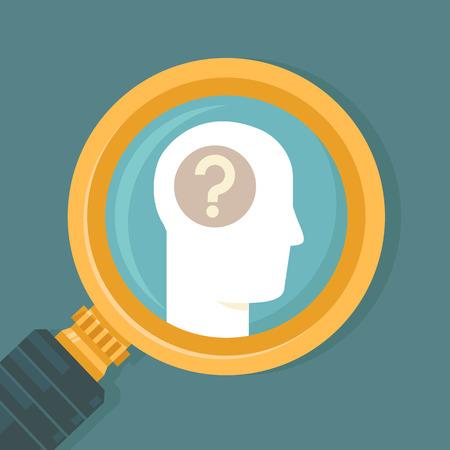 フラット スタイル - 人間の脳のアイコンと拡大鏡でベクトル心理学概念