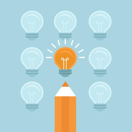 Vecteur notion de marketing dans le style plat - se démarquer de la foule - ampoule lumineuse et un crayon