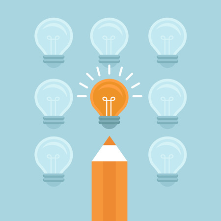 Vector marketing concept in flat style - stand out from the crowd - bright light bulb and pencil Ilustração