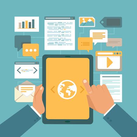 mercadotecnia: Concepto vectorial contenido de marketing en estilo plano - trabajar con contenido digital en el PC tableta con pantalla táctil brillante Vectores