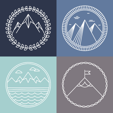 top round: Vector mountain logos and emblems in outline style - abstract design elements and round badges Illustration