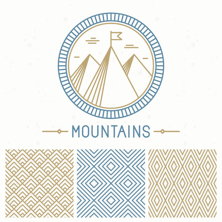 outdoor: Vector mountain design kit - abstract round emblem and seamless patterns in line style