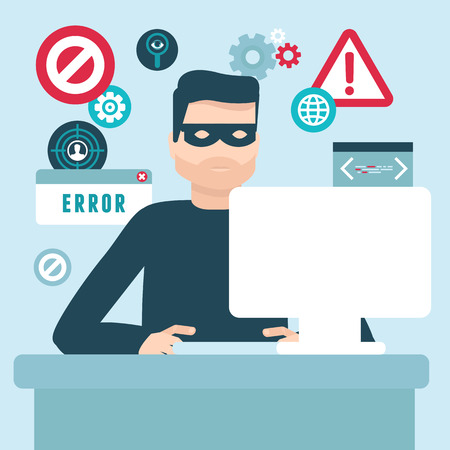 online privacy: Vector hacker illustration in flat style - password and data thief