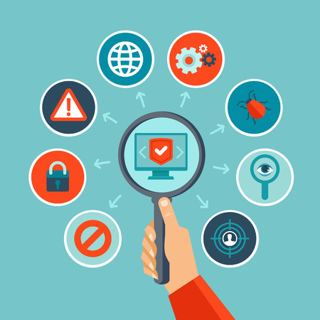 privacy: Vector concepto de seguridad de Internet en estilo llano - infograf�as elementos de dise�o y los iconos