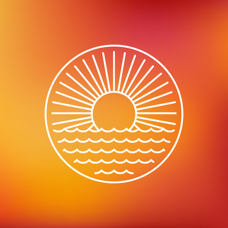 retro sunrise: Vector sun emblem in outline style - sunrise emblem on blurred background Illustration