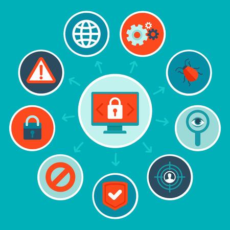 spyware: Vector concepto de seguridad de Internet en estilo llano - infograf�as elementos de dise�o y los iconos