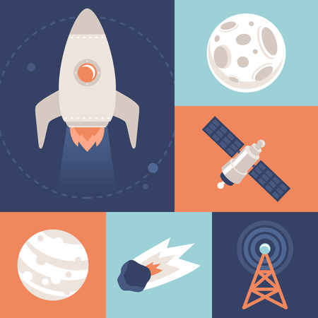 planetoid: Vector space icons in flat style - space ship and rocket