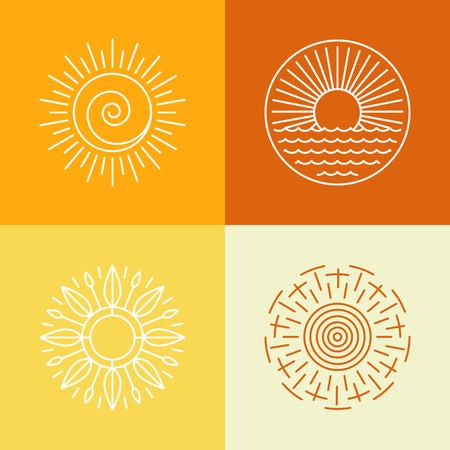 puesta de sol: Vector iconos de contorno de sol y los elementos de dise�o del logotipo - conjunto de emblemas abstractos
