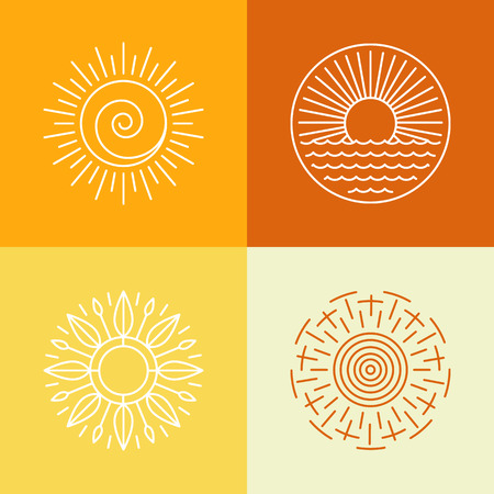 retro sunrise: Vector outline sun icons and logo design elements - set of abstract emblems