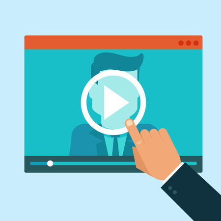 Vector webinar concept in flat style - video player - online education Çizim