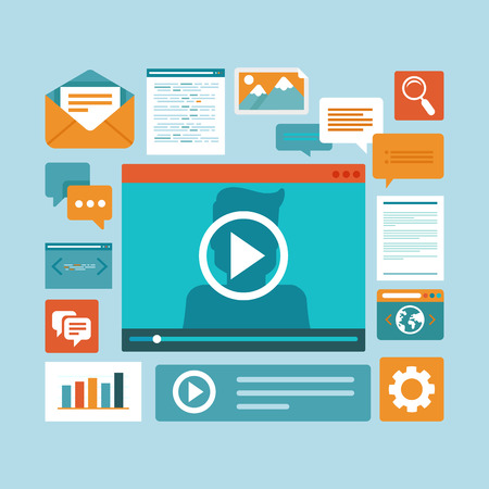 Vector e-learning concept in flat style - digital content and online webinar icons 일러스트