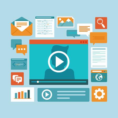aprendizaje: Contenidos digitales y los iconos webinar en línea - concepto de estilo plano Vector de e-learning Vectores