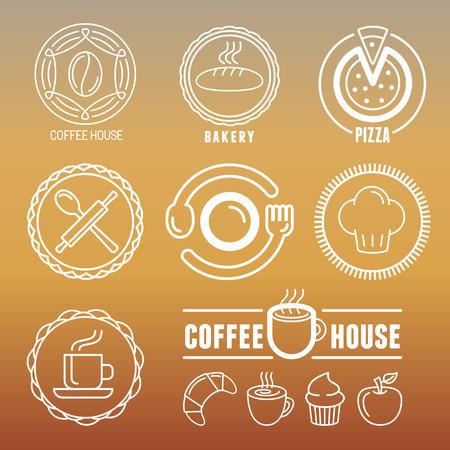 logo de comida: Vector de panadería y pastelería emblemas e iconos de estilo de esquema - logo elementos de diseño abstracto para cafeterías y cafés Vectores