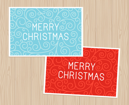 Merry christmas hand lettering in outline style - greeting card with decorative typography and line flourishes on blue wooden background Vector