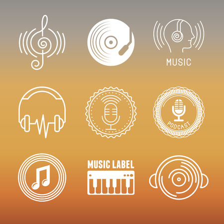music dj: Vector musical logos and icons in outline style - set of design elements - music and audio concepts