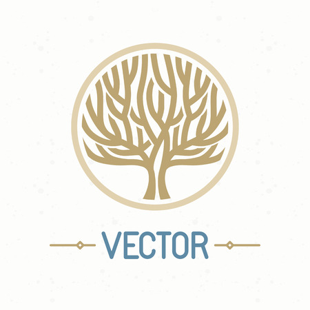 badge logo: Vector abstract emblem - outline monogram - tree symbol - concept for organic shop - abstract design element - logo design template