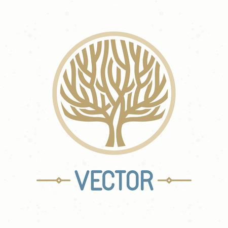 doğa arka: Vektör soyut amblem - anahat tuğrası - ağaç sembolü - organik dükkan konsepti - soyut tasarım öğesi - logo tasarım şablonu