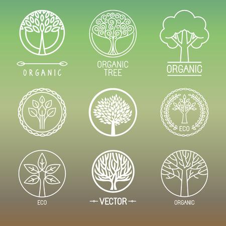 reciclar: Árbol del vector logo - conjunto de elemento abstracto del diseño orgánico - eco y bio círculo insignia