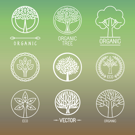 trees silhouette: Vector tree logo - set of abstract organic design element - eco and bio circle badge