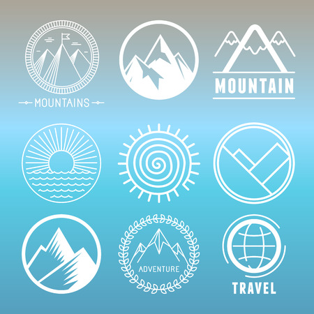 Vector mountain logos and emblems in outline style - abstract design elements and round badges Vectores