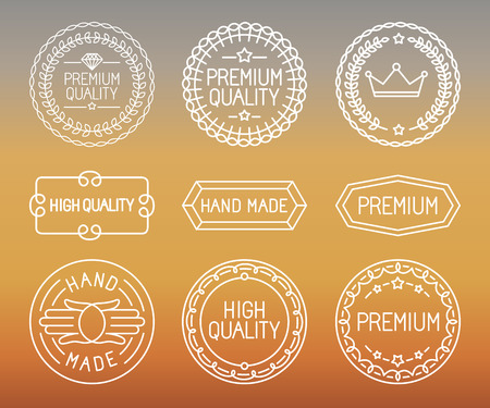 Vector set of line badges - premium quality emblems and labels in outline trendy style Vector
