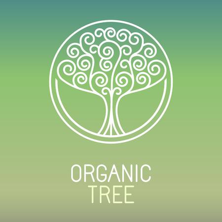 leaf tree: Vector tree - abstract organic design element - eco and bio circle badge
