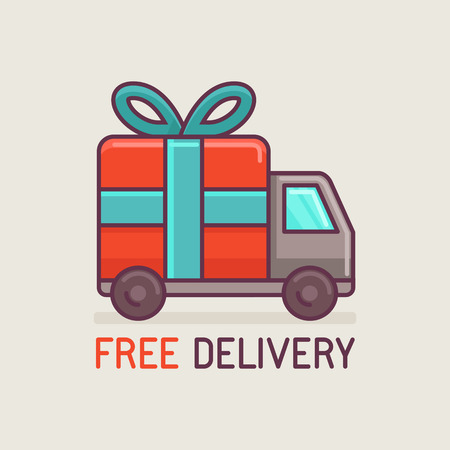 Vector free delivery concept in flat style - truck with gift