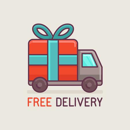 Vector gratis levering concept in de vlakke stijl - truck met cadeau