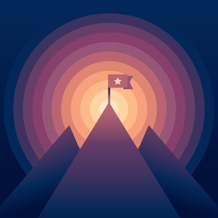 Vecteur paysage abstrait avec des couleurs de gradient - montagne avec un drapeau - concept de la victoire Banque d'images - 33827806