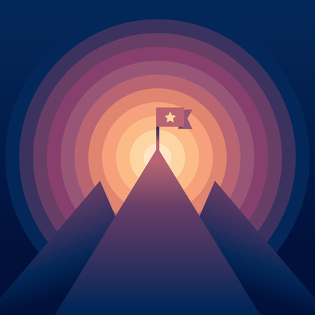 hill top: Vector abstract landscape with gradient colors - mountain with a flag - victory concept