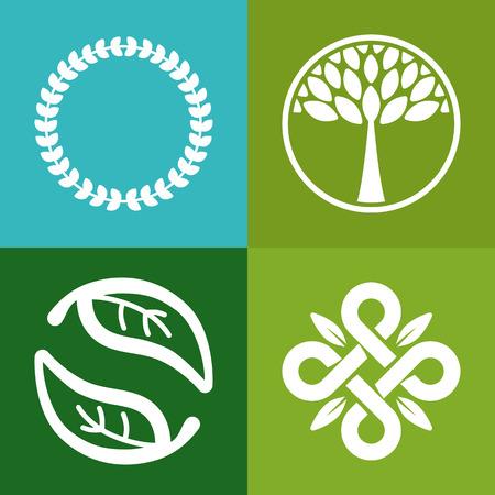 벡터 추상 상징 - 꽃과 나무 기호 - 유기 상점에 대한 개념 - 로고 디자인 템플릿