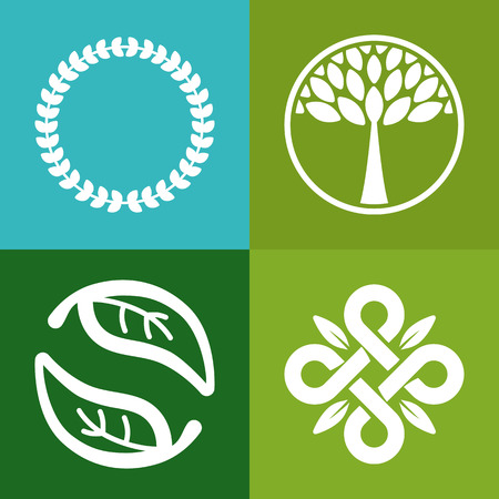Vector abstract emblem -  flower and tree symbols - concept for organic shop  - logo design template Ilustração