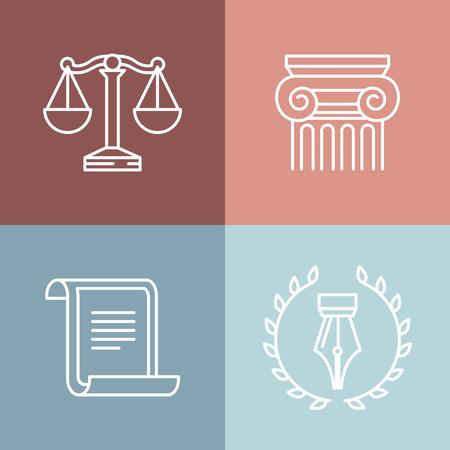 ley: Vector conjunto de logotipos y signos jurídicos y legales - iconos de la línea